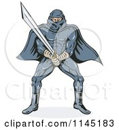 Clipart Of A Ninja Villain With A Katana Royalty Free Vector Illustration