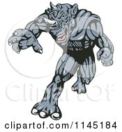 Clipart Of A Running Rhino Man Villain Royalty Free Vector Illustration by patrimonio