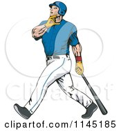 Clipart Of A Baseball Batter Gazing After Hitting A Home Run Royalty Free Vector Illustration