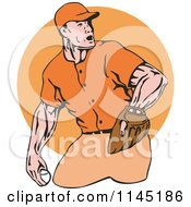 Clipart Of A Retro Baseball Pitcher Over An Orange Circle Royalty Free Vector Illustration by patrimonio