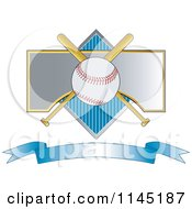 Clipart Of A Baseball Over Crossed Bats A Diamond And Blue Banner Royalty Free Vector Illustration