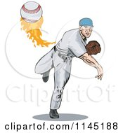 Clipart Of A Pitcher Throwing A Fast Flaming Baseball Royalty Free Vector Illustration