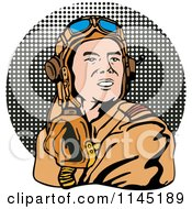 Clipart Of A Retro WW2 Airman Pilot Over Halftone Royalty Free Vector Illustration by patrimonio