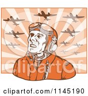 Clipart Of A Retro WW2 Airman Pilot Under Planes Royalty Free Vector Illustration by patrimonio