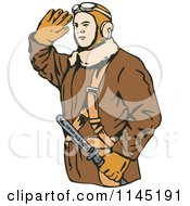Clipart Of A Saluting Kamikaze Pilot Royalty Free Vector Illustration by patrimonio