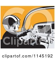 Clipart Of A Retro Pilot In The Cockpit Over Orange Royalty Free Vector Illustration by patrimonio