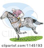 Clipart Of A Retro Derby Horse Race Jockey 3 Royalty Free Vector Illustration