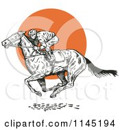 Clipart Of A Black And White Derby Horse Race Jockey Over An Orange Circle Royalty Free Vector Illustration