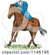 Clipart Of A Retro Derby Horse Race Jockey 2 Royalty Free Vector Illustration