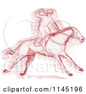 Clipart Of A Red Engraved Derby Horse Race Jockey Royalty Free Vector Illustration