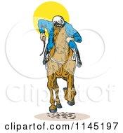 Clipart Of A Retro Derby Horse Race Jockey 1 Royalty Free Vector Illustration