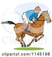 Clipart Of A Derby Horse Race Jockey Royalty Free Vector Illustration