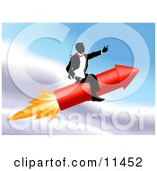 Successful Businessman Riding A Rocket Through The Sky Clipart Illustration by AtStockIllustration