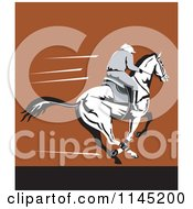 Clipart Of A Derby Jockey Racing A Horse On Brown Royalty Free Vector Illustration