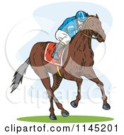 Clipart Of A Derby Jockey Racing A Horse 3 Royalty Free Vector Illustration