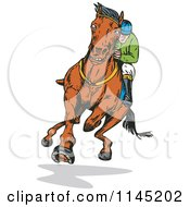 Clipart Of A Derby Jockey Racing A Horse 2 Royalty Free Vector Illustration