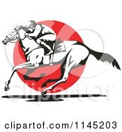 Clipart Of A Black And White Derby Jockey Racing A Horse Over A Red Circle Royalty Free Vector Illustration
