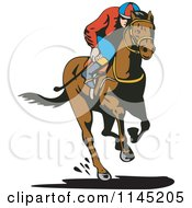 Clipart Of A Derby Jockey Racing A Horse 1 Royalty Free Vector Illustration