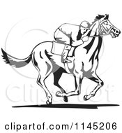 Clipart Of A Black And White Derby Jockey Racing A Horse 3 Royalty Free Vector Illustration