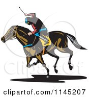 Clipart Of A Retro Derby Horse Race Jockey 4 Royalty Free Vector Illustration