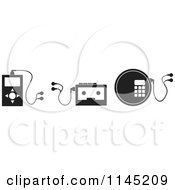 Clipart Of Black And White Music Player Electronics Royalty Free Vector Illustration