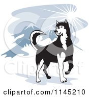 Clipart Of A Husky Dog In The Mountains Royalty Free Vector Illustration by patrimonio
