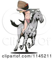 Clipart Of A Native American Hunting With A Rifle On A Running Horse Royalty Free Vector Illustration