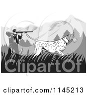 Clipart Of A Retro Hunter And Pointer Dog In The Mountains Royalty Free Vector Illustration