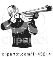 Retro Black And White Hunter Holding A Rifle 1