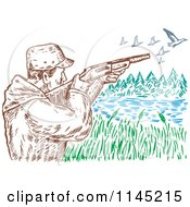 Clipart Of An Engraved Hunter Aiming At Ducks Over A Lake Royalty Free Vector Illustration