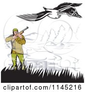 Clipart Of A Retro Hunter Aiming At A Goose Royalty Free Vector Illustration by patrimonio