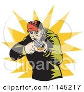 Clipart Of A Retro Hunter Holding A Double Barrel Rifle Over A Burst Royalty Free Vector Illustration