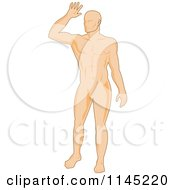 Clipart Of A Human Anatomy Man Holding A Hand Up Royalty Free Vector Illustration