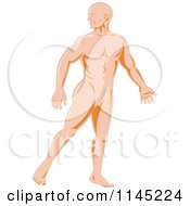 Clipart Of A Human Anatomy Man Looking Back Over His Shoulder Royalty Free Vector Illustration