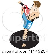Clipart Of A Boxer Fighter Kicking 2 Royalty Free Vector Illustration