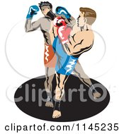 Clipart Of A Boxer Fighter Kicking An Opponent 2 Royalty Free Vector Illustration