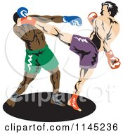 Clipart Of A Boxer Fighter Kicking An Opponent 1 Royalty Free Vector Illustration