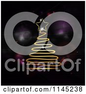 Clipart Of A Gold Neon Scribble Christmas Tree Over Purple Flares Royalty Free Vector Illustration by elaineitalia