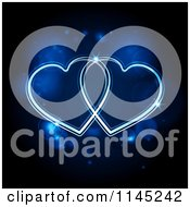 Clipart Of Neon Blue Hearts Glowing Over Flares Royalty Free Vector Illustration by elaineitalia