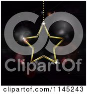 Clipart Of A Neon Star Suspended Over Purple Flares Royalty Free Vector Illustration