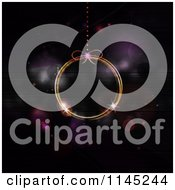 Clipart Of A Neon Christmas Bauble Over Purple Flares Royalty Free Vector Illustration