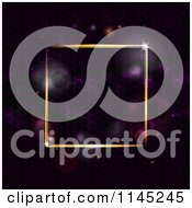 Clipart Of A Gold Neon Square Frame Over Purple Flares Royalty Free Vector Illustration