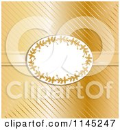 Clipart Of An Oval Holly Frame Over Gold Stripes And Ribbon Royalty Free Vector Illustration by elaineitalia
