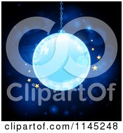 Clipart Of A Glowing Blue Christmas Bauble With Golden Stars And Flares Royalty Free Vector Illustration