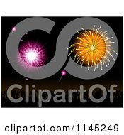 Clipart Of A Silhouetted Crowd Under Pink And Orange Fireworks Royalty Free Vector Illustration