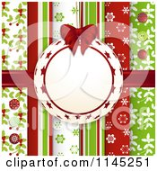 Clipart Of A Bauble Frame Over Christmas Scrapbook Papers With Buttons Royalty Free Vector Illustration
