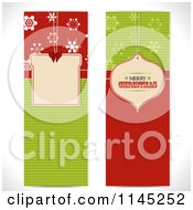 Clipart Of Tall Red And Green Christmas Banners Royalty Free Vector Illustration by elaineitalia