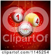 Clipart Of 3d Christmas Disco Balls Suspended Over Red With Waves And Stars Royalty Free Vector Illustration