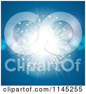 Clipart Of A Bright Light Explosion With Stars And Flares On Blue Royalty Free Vector Illustration