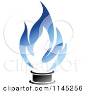 Clipart Of A Stove Burner With Blue Gas Flames 4 Royalty Free Vector Illustration